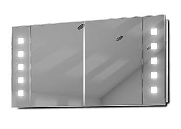 Vishnu LEDIlluminated Bathroom Mirror Cabinet With Sensor & Shaver k123