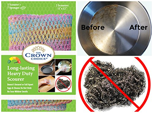 HEAVY DUTY Scouring Pad & Dish Scrubber (1Pk of 2) | For Dishwashing, Cast Iron, Pot Scrubbing | Replace Steel Sponges, Kitchen Sponge Scrubbers, Dish Cloths, Wash Cloths | Nylon Mesh & Odor Free ... (Dish Scrubber Steel compare prices)