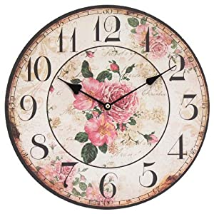 Decorazione shabby chic orologio da parete modello rosa for Orologio shabby chic