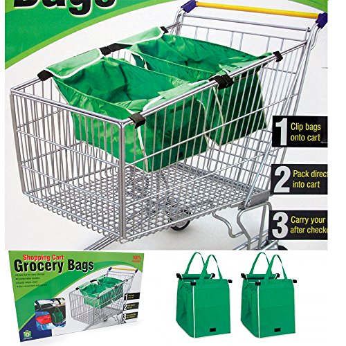 2 X Grab Bag Reusable Clip To Cart Tote 40 Lbs As Seen On Tv Grocery Shopping New