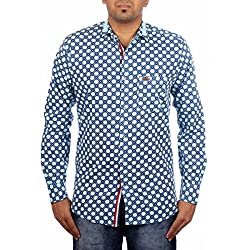 Aaduki Men's Casual Blue Shirt-L