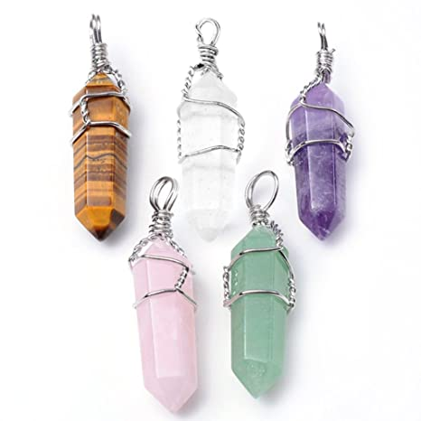 Top Plaza 5pcs Natural Amethyst+ Rose Quartz + Tiger Eye+ Green