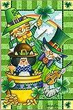 Cat Leprechauns St. Patrick s Day Garden Flag Shamrock Pot of Gold 12 x18
