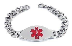 Max Petals - Type 2 Diabetes Medical Alert ID Heavy Stainless Steel Men's Bracelet with 8