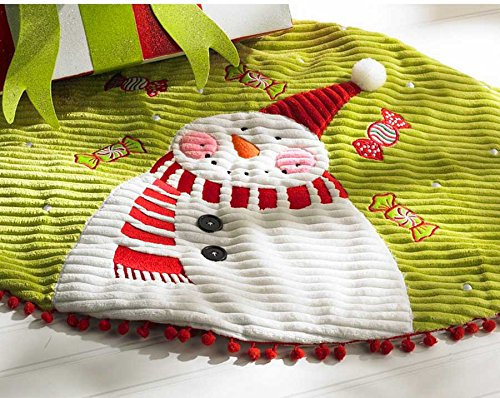 42 Inch Lime Green Ribbed Snowman Tree Skirt