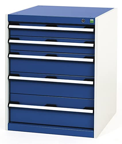Bott Cubio 5-Drawer Cabinet, Metal, Grey/Blue