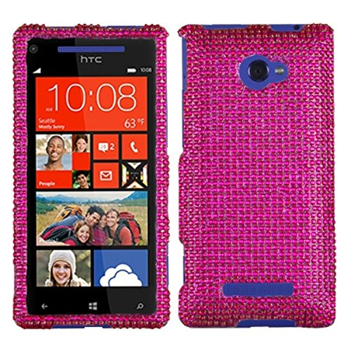 Asmyna HTCWIN8XHPCDMS023NP Dazzling Luxurious Bling Case for HTC Windows Phone 8X - 1 Pack - Retail Packaging - Hot Pink (Htc Windows 8x Case compare prices)