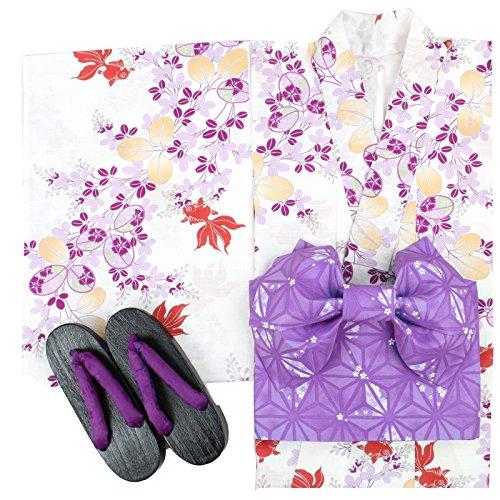 (ナツニッキ)Natsunikki(夏日記) レディース浴衣3点セット 1622-1C  白系×ピンク F