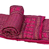 Ecraftindia Set Of 2 Designer Pink Single Bed Jaipuri Cotton Quilt