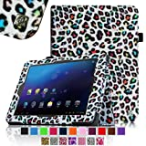 Fintie E FUN Nextbook Premium 8HD SE NX008HD8G Tablet Folio Case Cover - Premium Leather With Stylus Holder 3 Years Warranty [June 2013 Wal-Mart Release] - Leopard Rainbow