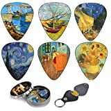 Vincent Van Gogh Guitar Picks Celluloid Medium 12 Pack + Leather Keychain Pick Holder. Premium Gift Set For Every Acoustic, Elerctric & Bass Guitar Players.