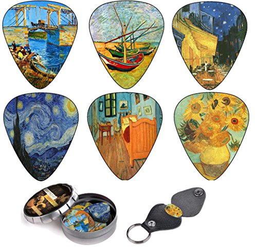 Vincent Van Gogh Guitar Picks Premium Gift Set- Celluloid Medium 12 Pack W/ Leather Keychain Pick Holder & Designed Tin Box Best Guitarist Stocking Stuffer & Original Christmas Gift for Guitar Lover.