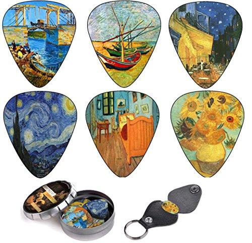 vincent-van-gogh-guitar-picks-premium-gift-set-celluloid-medium-12-pack-w-leather-keychain-pick-hold