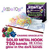 GOODIE TOYS- DURABLE METAL LOOM KIT- Metal Loom Band Hook- 750 GLOW in THE DARK RUBBER BANDS w/ 48 S-CLIPS + CHARMS to ENHANCE the LOOMS BRACELET MAKING EXPERIENCE - 100% SATISFACTION GUARANTEE!