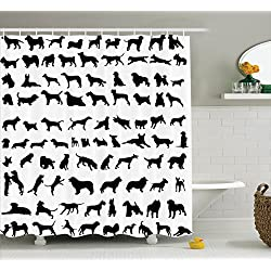 black and white shower curtain set. Dog Lover  Breeds of Dogs Bulldog Shepherd Pinscher Spaniel St Bernard Shower Curtain Great Gifts For Lovers Curtains