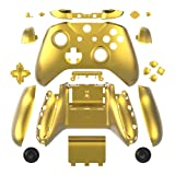 WPS Chrome Color Case Housing Full Shell Set Faceplates + ABXY Buttons + RB LB Bumpers + Right/Left Rails for Xbox One S Slim (3.5 mm Headphone Jack) Controllers (Chrome Gold) for 1807 Version (Color: Chrome Gold)