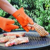 Innoo Tech BBQ Grill Gloves Up To 300% Thicker Than Others Silicone Heat Resistant for Barbeque, Oven, Cooking, Frying, Baking, Smoking, Potholder, FDA Approved and BPA Free