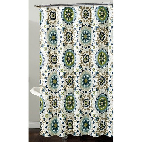 Cynthia Medallion Floral Fabric Shower Curtain In Colors Of Navy