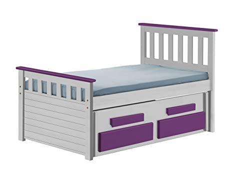 Design Vicenza Captains Bergamo Guest Bed Short 3ft Whitewash With Lilac Details