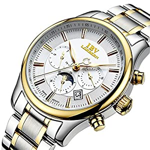 Men's Automatic Self Wind Synthetic Sapphire S-G Stainless Steel Band Waterproof Business Watch White