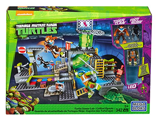 Mega Bloks DMX55 Teenage Mutant Ninja Turtles - Turtle Sewer Lair, 342 Piece
