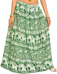 Exotic India Juniper-Green Long Skirt with Printed Flowers and Elephants - Green