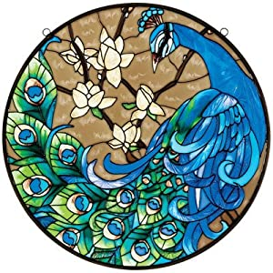 Design Toscano JB401 Springtime's Peacock Hand Painted Art Glass Panel - Multi-Colour from Design Toscano