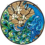 Design Toscano JB401 Springtime's Peacock Glass Art Panel