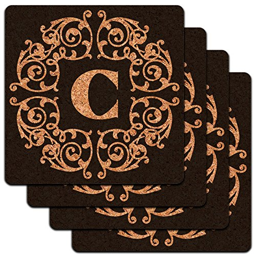 Letter C Initial Black White Scrolls Low Profile Cork Coaster Set rinzo c 00060 tt334 white