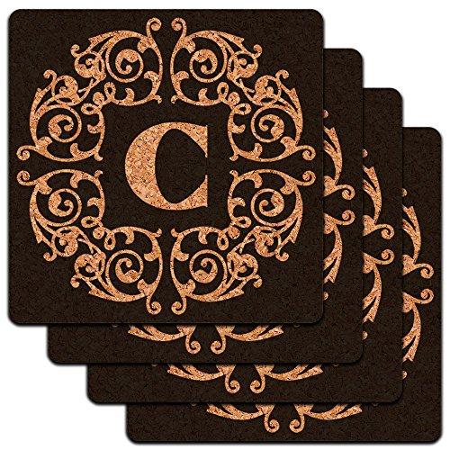 Letter C Initial Black White Scrolls Low Profile Cork Coaster Set трусы слипы calvin klein underwear qf1424e in8