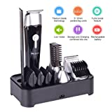 Beard trimmer kit with stand cordless Rechargeable waterproof 5 in 1 Multi-functional Men's Grooming Kit Set with Electric hair Clipper,Dual shaver,precision trimmer,nose ear trimmer,body trimmer (11) (Color: 11)