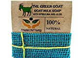 Goat Milk Soap With Aloe and Spirulina Extra Moisturizing for Face or Body Washing Helps with Acne, Eczema, or Psoriasis (1 (ONE) PACK)
