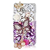 Mavis's Diary 3D Handmade Luxury Bling Crystal Butterfly Flowers Pearl Pendant Diamond Rhinestone Design Hard Clear Cover Case with Soft Clean Cloth for Samsung Galaxy S2 i9100 Galaxy S 2 II Plus I9105 International Version (White and Purple Rhinestone C