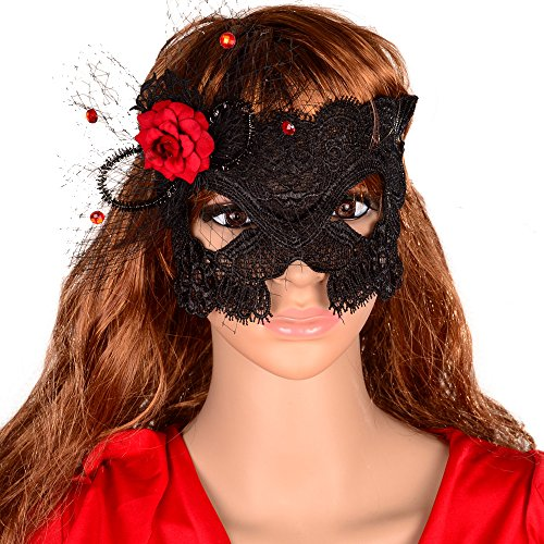 Yazilind Red Flower Black Lace Half Mask for Fancy Masquerade Ball