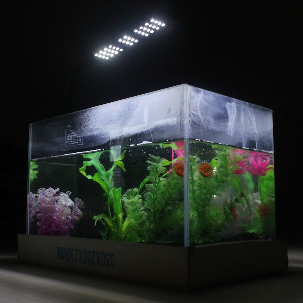 Ringlit® 2013 New Version! 3W Aquarium 3 Mode Flexible Tank Lamp 48 LED White & Blue Light 85-265V+Power Adapter Saving Energy, Touchable Inductive Switch with Submersible Thermometer for Free.