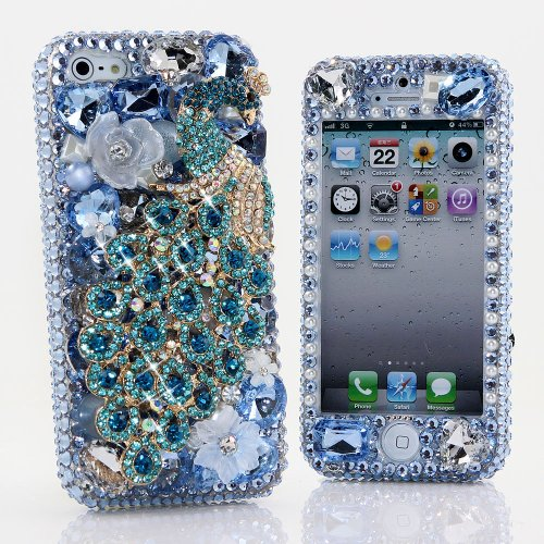 Special Sale BlingAngels® 3D Luxury Bling iphone 5 5s Case Cover Faceplate Swarovski Crystals Diamond Sparkle bedazzled jeweled Design Front & Back Snap-on Hard Case (100% Handcrafted by BlingAngels) (Blue Crystal Peacock Design)
