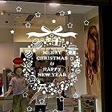ウォールステッカー クリスマス リース ホワイト転写式 ガラスオーナメント雪の結晶 ショーウインドー クリスマス 装飾