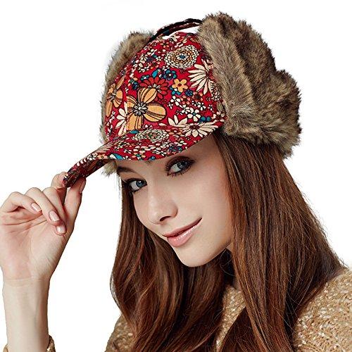 Kenmont Winter Frauen Dame Mädchen warmen Ohrenklappen Baumwolle Kunstpelz Hut Baseball Cap