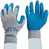 Showa Best 300 Atlas Fit Palm Coating Natural Rubber Glove, 10-Gauge Seamless Knitted Liner