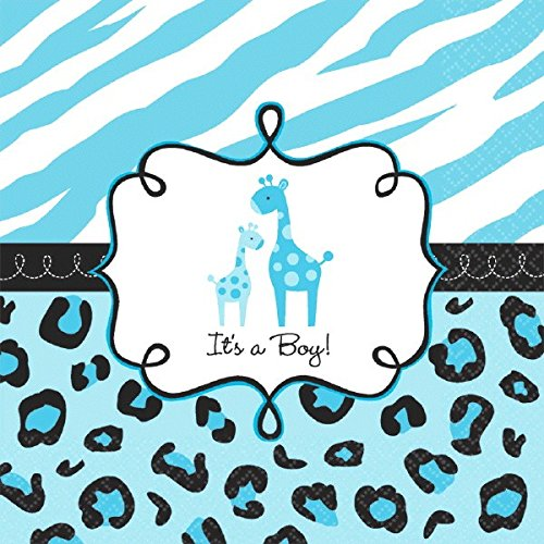"Amscan Sweet Safari Boy Baby Shower Party Luncheon Napkins (36 Piece), 6.5 x 6.5"", Blue"