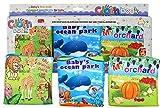 Juego de 3 Libros de Tela Para el Desarrollo Intelectual del Beb� - Libros de Tela Impresos para Guarder�a, Actividades de Aprendizaje Preescolar de HAPPYBABY-HAPPYYOU, Dise�o Moderno y Materiales Seguros