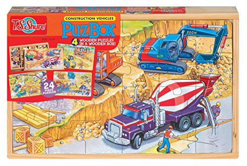 T.S. Shure Construction Vehicles 4 Large Puzzles in a Wooden Box