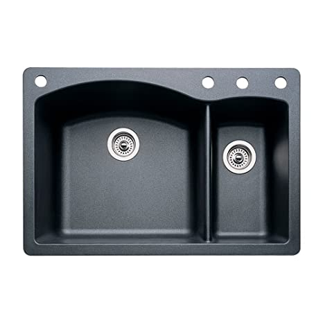 Blanco 440199-4 Diamond 4-Hole Double-Basin Drop-In or Undermount Granite Kitchen Sink, Anthracite