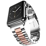 U191U Band Compatible with Apple Watch 42mm Stainless Steel Wristband Metal Buckle Clasp iWatch Strap Replacement Bracelet for Apple Watch Series 3/2/1 Sports Edition (Silver/Rose Gold, 42MM) (Color: Silver/Rose Gold, Tamaño: 42 mm)