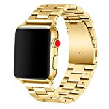 Apple Watch Band 42mm Premium Stainless Steel Metal Apple Watch Bands iWatch Bands Apple Watch Band Replacement for Apple Watch Series 1 Series 2 Series 3 Libra & Gemini (Gold) (Color: 42mm-Gold)