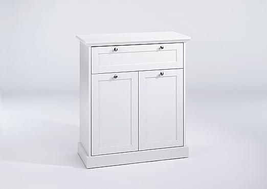 """Cavadore Moderne Kommode Weiß """"Greenford"""" / Mit 2 Turen und einer Schublade / 80 x 90 x 37 cm (B x T x H) / Viel Stauraum"""