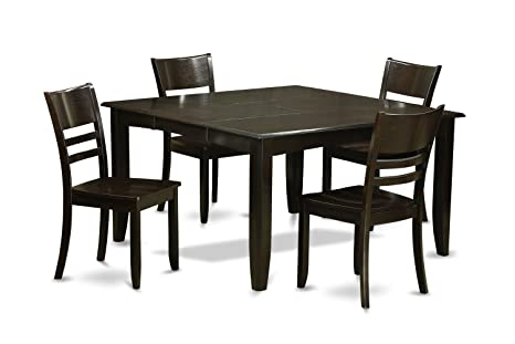 East West Furniture PFLY5-CAP-W 5-Piece Dining Table Set, Cappuccino Finish