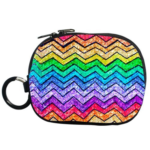 Colorful Chevron Rainbow Style Personalized Coin Purse (Two Side) front-42881
