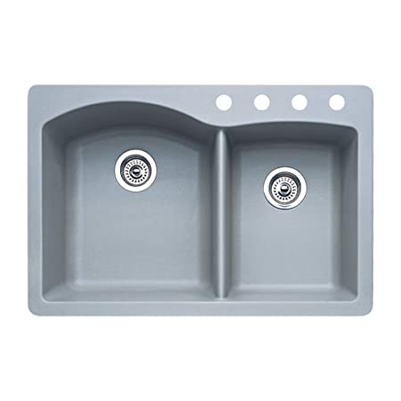 Blanco 440214-4 Diamond 4-Hole Double-Basin Drop-In or Undermount Granite Kitchen Sink, Metallic Grey