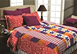 Maissen Belladonna Geometrical Polycotton Double Bedsheet with 2 Pillow Covers - Red